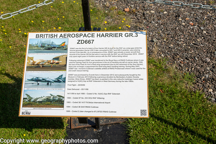 British Aerospace Harrier GR.3 ZD667 fighter plane, Bentwaters Cold War museum, Suffolk, England, UK information board
