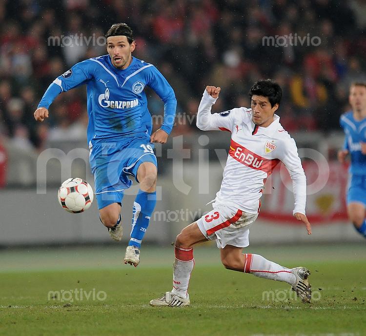 Fussball  International  UEFA Cup    Saison  2008/2009    26.02.2009 VfB Stuttgart   -  Zenit St. Petersburg             Danny  (li, Zenit)  gegen Ricardo Osorio (VfB)