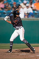 San Jose Giants shortstop Brandon Van Horn (9) at bat during a California League game against the Lancaster JetHawks at San Jose Municipal Stadium on May 12, 2018 in San Jose, California. Lancaster defeated San Jose 7-6. (Zachary Lucy/Four Seam Images)