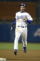 Shawn Green of the Los Angeles Dodgers runs the bases during a 2002 MLB season game at Dodger Stadium, in Los Angeles, California. (Larry Goren/Four Seam Images)