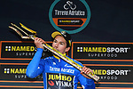Primoz Roglic (SLO) Team Jumbo-Visma wins the 54th Tirreno-Adriatico by just 0.31 seconds over Adam Yates (GBR) Mitchelton-Scott at the end of Stage 7 of the Race of the Two Seas, the 54th Tirreno-Adriatico 2019, an individual time trial running 10.1km around San Benedetto del Tronto, Italy. 19th March 2019.<br /> Picture: LaPresse/Gian Mattia D'Alberto | Cyclefile<br /> <br /> <br /> All photos usage must carry mandatory copyright credit (&copy; Cyclefile | LaPresse/Gian Mattia D'Alberto)