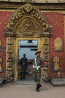 Nepal, Bhaktapur. Earthquake damage 2015, Guard at the museum.
