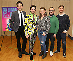 """The creative team: songwriter Joe Iconis, choreographer Chase Brock, musical director Emily Marshall, director Stephen Brackett, and book writer Joe Tracz during the """"Be More Chill"""" Press Preview Presentation at Pearl Studios on January 23, 2019 in New York City."""