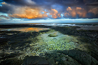 Tidepools and sunrise  on the Kohala Coast. The Big Island, Hawaii.