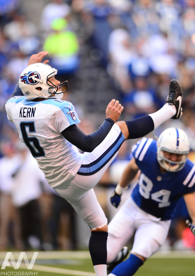 Sep 28, 2014; Indianapolis, IN, USA; Tennessee Titans punter Brett Kern (6) against the Indianapolis Colts at Lucas Oil Stadium. Mandatory Credit: Andrew Weber-USA TODAY Sports