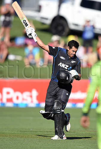 03.02.2015. Napier, New Zealand.  Ross Taylor celebrates his century. ANZ One Day International Cricket Series. Match 2 between New Zealand Black Caps and Pakistan at McLean Park in Napier, New Zealand.