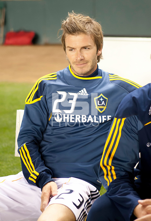 CARSON, CA – SEPTEMBER 10: LA Galaxy midfielder David Beckham (23) during pregame at Home Depot Center, September 10, 2010 in Carson California.