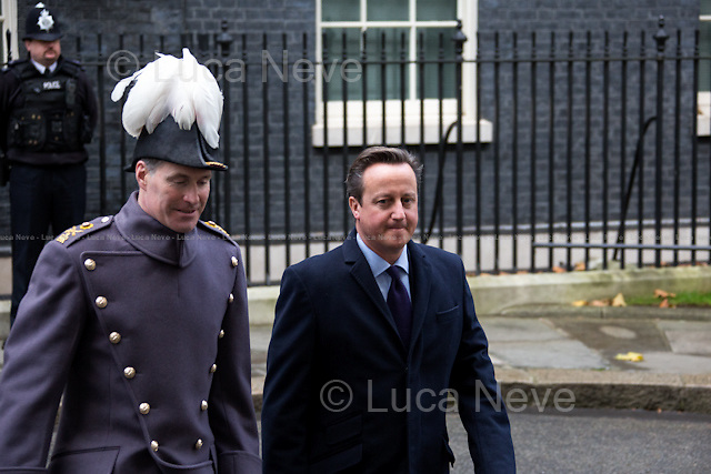 David Cameron (British Prime Minister).<br /> <br /> London, 12/11/2015. Today, the Prime Minister of India Narendra Modi (Leader of the Bharatiya Janata Party, BJP; former Chief Minister of Gujarat from 2001 to 2014; actual Member of Parliament from Varanasi) met the British Prime Minister David Cameron at 10 Downing Street during his visit to the UK. After the meeting, the two Prime Ministers went to Parliament Square (cleared from traffic and members of the public) to pay tribute to the Mahatma Gandhi statue and to see the Red Arrows performing a flypast over Westminster. In the meantime, Sikh and Kashmir people protested patrolled by heavy police presence.