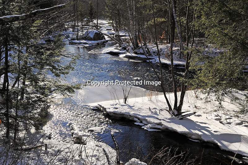 Winter Snow and Ice on the Ashuelot River in Marlow, New Hampshire