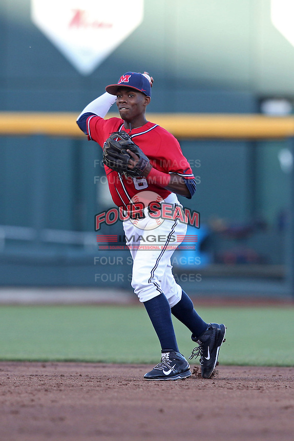 Errol Robinson #6 of the Ole Miss Rebels throws during Game 4 of the 2014 Men's College World Series between the Virginia Cavaliers and Ole Miss Rebels at TD Ameritrade Park on June 15, 2014 in Omaha, Nebraska. (Brace Hemmelgarn/Four Seam Images)