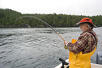 Fishing at King Salmon Lodge, owned by the Oak Bay Marine Group, River's Inlet, northern British Columbia, Canada.  Famous for its Chinook Salmon fishing, River's Inlet offers excellent Silver Salmon (Coho) fishing in August and September.  Pink Salmon, Halibut, and Rockfish provide additional fishing action.