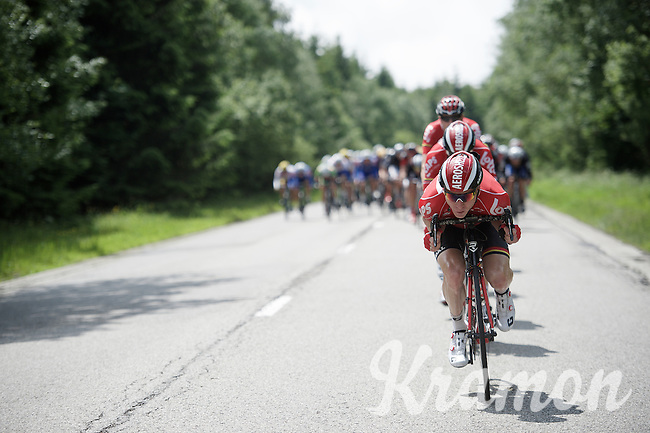 Follow the leader: Marcel Sieberg (DEU/Lotto-Soudal) tucked in at the helm of the peloton defending Sean De Bie's (BEL/Lotto-Soudal) overall lead on the descent<br /> <br /> stage 4: Hotel Verviers - La Gileppe (Jalhay/BEL) 186km <br /> 30th Ster ZLM Toer 2016
