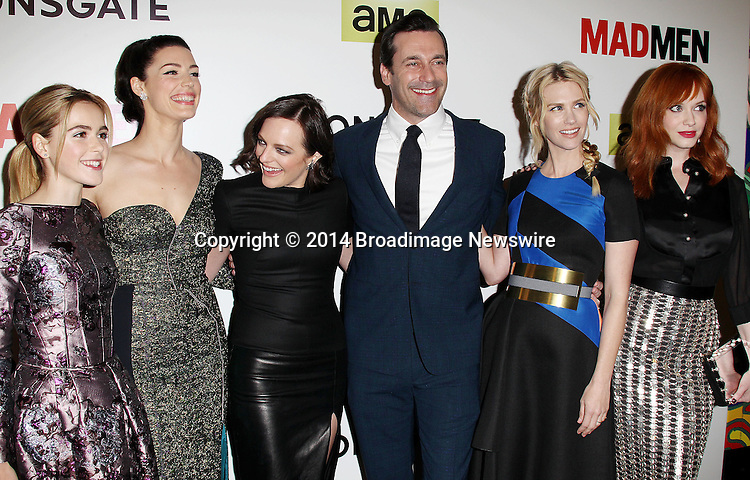 Pictured: Kiernan Shipka, Jessica Pare, Elisabeth Moss, Jon Hamm, January Jones, Christina Hendricks <br /> Mandatory Credit &copy; Frederick Taylor/Broadimage<br /> &quot;Mad Men&quot; Season 7 Premiere <br /> <br /> 4/2/14, Hollywood, California, United States of America<br /> <br /> Broadimage Newswire<br /> Los Angeles 1+  (310) 301-1027<br /> New York      1+  (646) 827-9134<br /> sales@broadimage.com<br /> http://www.broadimage.com