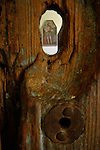 Painting framed by a keyhole, Mission San Juan Bautista