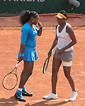 The Williams sisters, Serena and Venus Win Their Doubles Match