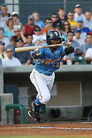 Myrtle Beach Pelicans shortstop Mychal Jones #11 bunting during a game vs. the Potomac Nationals at BB&T Coastal Field in Myrtle Beach, SC, on June 16, 2010. The Nationals defeated the Pelicans 13-4. Photo By Robert Gurganus/Four Seam Images