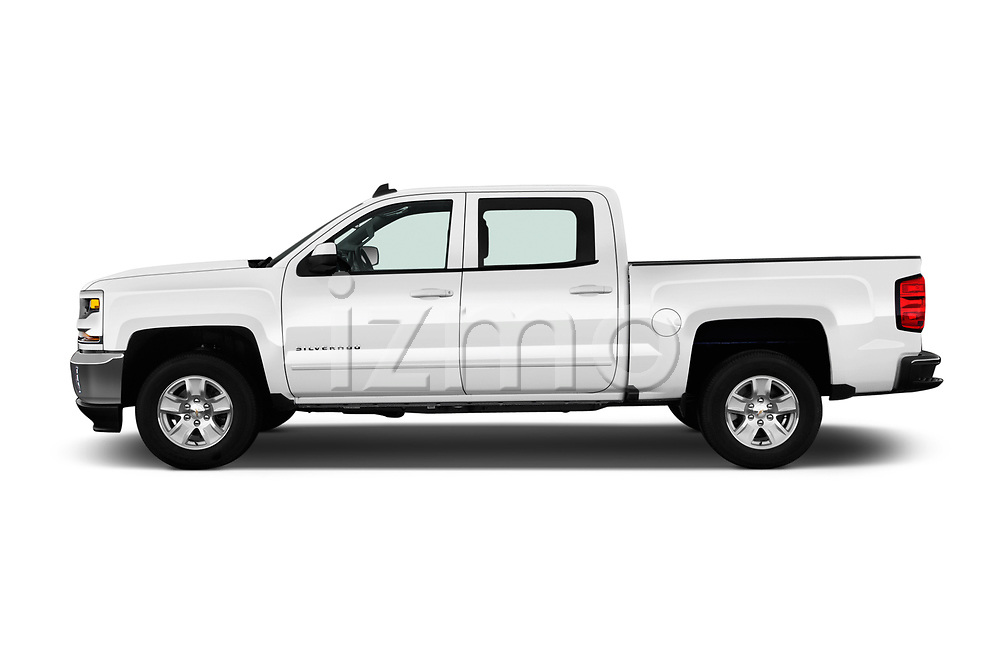 Car Driver side profile view of a 2018 Chevrolet Silverado-1500 LT-Crew 4 Door Pick-up Side View