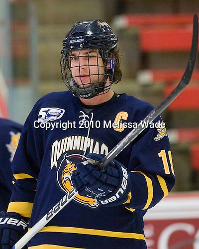 Scott Zurevinski (Quinnipiac - 19) - The visiting Quinnipiac University Bobcats defeated the Harvard University Crimson 3-1 on Wednesday, December 8, 2010, at Bright Hockey Center in Cambridge, Massachusetts.