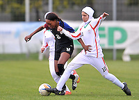 Monfalcone, Italy, April 26, 2016.<br /> USA's #8 Jarret (L) fights for the ball with Iran's #10 Seyedeh Fatemeh Hosseini (R) during USA v Iran football match at Gradisca Tournament of Nations (women's tournament). Monfalcone's stadium.<br /> © ph Simone Ferraro / Isiphotos