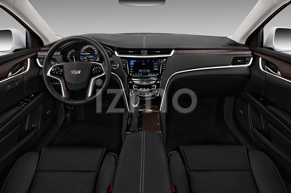 Stock photo of straight dashboard view of a 2018 Cadillac XTS Luxury 4 Door Sedan