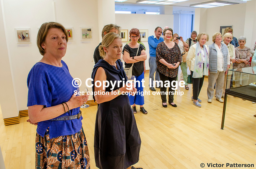Attendees at Three Ways of Seeing exhibition comprising works by Mavis Thomas and daughters Marion & Sydney. Mavis, who lives in Enniskillen, Co Fermanagh, N Ireland, is a member of the Royal Ulster Academy, Ulster Society of Woman Artists, Watercolour Society of Ireland, Ulster Watercolour Society and the Turner Society. 201805254845<br />