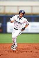 Charlotte Stone Crabs second baseman Brandon Lowe (5) running the bases during the first game of a doubleheader against the Tampa Yankees on July 18, 2017 at Charlotte Sports Park in Port Charlotte, Florida.  Charlotte defeated Tampa 7-0 in a game that was originally started on June 29th but called to inclement weather.  (Mike Janes/Four Seam Images)