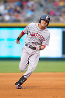 Derrik Gibson (16) of the Pawtucket Red Sox hustles into third base with a triple in the top of the 3rd inning against the Charlotte Knights at BB&T Ballpark on August 9, 2014 in Charlotte, North Carolina.  The Red Sox defeated the Knights  5-2.  (Brian Westerholt/Four Seam Images)