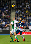 30th October 2017, Cornella-El Prat, Cornella de Llobregat, Barcelona, Spain; La Liga football, Espanyol versus Real Betis; Jordi Amat of Betis and Darder of Espanyol fight for the loose ball