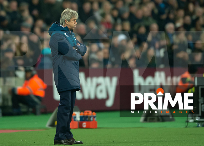 Manuel Pellegrini manager of West Ham United during the Premier League match between West Ham United and Manchester City at the Olympic Park, London, England on 24 November 2018. Photo by Vince Mignott / PRiME Media Images.