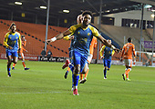 18/12/18 The Emirates FA Cup, 2nd Round Replay Blackpool v Solihull Moor<br /> <br /> Adi Yussuf celebrates after scoring Solihull Moors second goal