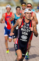 29 JUN 2014 - CHICAGO, USA - Joe Maloy (USA) of the USA starts another run lap during the elite men's ITU 2014 World Triathlon Series round in Grant Park, Chicago in the USA (PHOTO COPYRIGHT © 2014 NIGEL FARROW, ALL RIGHTS RESERVED)