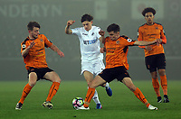 Pictured: Daniel James of Swansea City (C) against Wolverhampton Wanderers players Monday 13 March 2017<br /> Re: Premier League 2, Swansea City U23 v Wolverhampton Wanderers FC at the Liberty Stadium, Swansea, UK