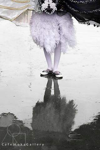 Trinidad Carnival, Junior Carnival costume, Queen theme Swan Lake, reflections of her feet