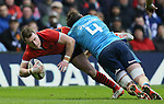 Stuart Hogg of Scotland tackled by George Fabio Biagi of Italy - RBS 6Nations 2015 - Scotland  vs Italy - BT Murrayfield Stadium - Edinburgh - Scotland - 28th February 2015 - Picture Simon Bellis/Sportimage
