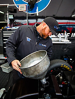 Feb 10, 2018; Pomona, CA, USA; NHRA funny car driver Shawn Langdon fuels his car during qualifying for the Winternationals at Auto Club Raceway at Pomona. Mandatory Credit: Mark J. Rebilas-USA TODAY Sports