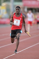 International athletics at Cardiff International stadium, Cardiff, South Wales - Tuesday 15th July 2014<br /> <br /> Sam Gordon(1) of Wales winning the Men's 4x100m relay final <br /> <br /> <br /> Photo by Jeff Thomas Photography