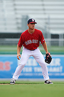 GCL Red Sox second baseman Sean Coyle (25) during a game against the GCL Rays on August 3, 2015 at the JetBlue Park at Fenway South in Fort Myers, Florida.  The game was suspended after two innings due to the inclement weather.  (Mike Janes/Four Seam Images)
