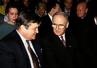 Jean Garon (L) and Ulric Blackburn, UMQ President (R)  between 1991 and  1995.<br /> <br />  Jean Garon died at 76 on July 2nd 2014.<br /> <br />  File Photo  : Agence Quebec Presse  - Pierre Roussel