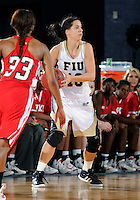 Florida International University guard Fanni Hutlassa (10) plays against Western Kentucky University.  FIU won the game 60-56 on January 28, 2012 at Miami, Florida. .