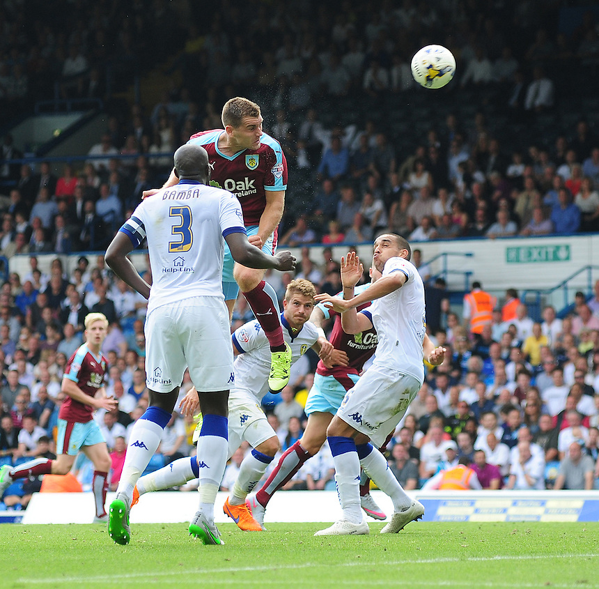 Burnley's Sam Vokes scores his sides equalising goal to make the score 1-1<br /> <br /> Photographer Chris Vaughan/CameraSport<br /> <br /> Football - The Football League Sky Bet Championship - Leeds United  v Burnley - Saturday 8th August 2015 - Elland Road - Beeston - Leeds<br /> <br /> &copy; CameraSport - 43 Linden Ave. Countesthorpe. Leicester. England. LE8 5PG - Tel: +44 (0) 116 277 4147 - admin@camerasport.com - www.camerasport.com