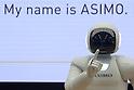 Honda Motor Co.'s humanoid robot ASIMO demonstrates at the company's showroom in Tokyo, Japan, February 24, 2016. (Photo by Takeshi Sumikura/AFLO)