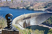 Kariba Dam wall being over looked by Nyami Nyami, the river God.