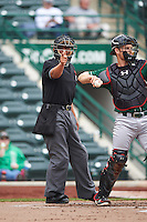 Umpire Luis Hernandez makes a call behind catcher Brant Whiting (1) during the second game of a doubleheader between the Great Lakes Loons and Fort Wayne TinCaps on May 11, 2016 at Parkview Field in Fort Wayne, Indiana.  Great Lakes defeated Fort Wayne 5-0.  (Mike Janes/Four Seam Images)