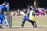 Simon Cook of Essex is bowled attempting a reverse sweep during Upminster CC vs Essex CCC, Benefit Match Cricket at Upminster Park on 8th September 2019