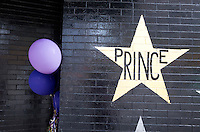 Prince's Star and balloons honoring Prince's life and music on wall of First Avenue Nightclub. Minneapolis Minnesota MN USA