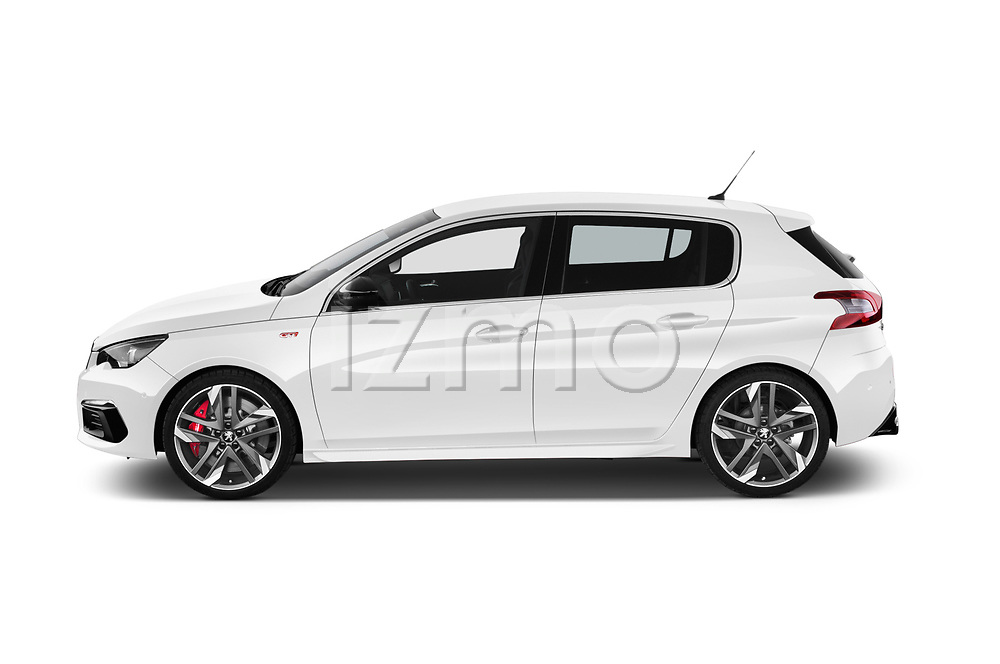 Car driver side profile view of a 2018 Peugeot 308 GTi Base 5 Door Hatchback