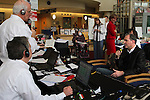 William Massart, right, participates speaks on the radio while participating in a fundraising event at Duke University Hospital in Durham, NC, USA, on Tuesday, Feb. 14, 2012.  Massart's daughter Sandra Massart, 10, is being treated at Duke University Hospital in Durham, NC, for MLD, a degenerative condition.  Photo by Ted Richardson