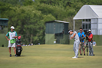 Kevin Na (USA) hits his approach shot on 18 during round 3 of the AT&T Byron Nelson, Trinity Forest Golf Club, at Dallas, Texas, USA. 5/19/2018.<br /> Picture: Golffile | Ken Murray<br /> <br /> <br /> All photo usage must carry mandatory copyright credit (© Golffile | Ken Murray)