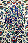 Iznik 07 - Iznik tile panel in the Mausoleum of Sultan Selim II, Aya Sofya, Sultanahmet, Istanbul, Turkey