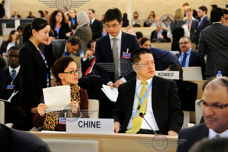 The Chinese delegation at the emergency debate on Syria held at the United Nations Human Rights Council in Geneva. The debate was called in response to the worsening crisis in Syria where anti government forces, led by the Free Syrian Army (FSA), are fighting the Assad regime across the country and allegations of human rights abuses are proliferating. The emergency session ended with a call from Navi Pillay, the UN Human Rights Commissioner, for and immediate humanitarian ceasefire. .